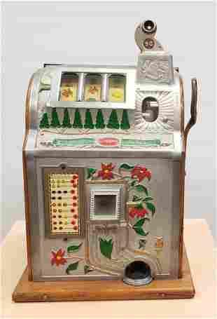1929 Mills Poinsettia 5 cent slot machine