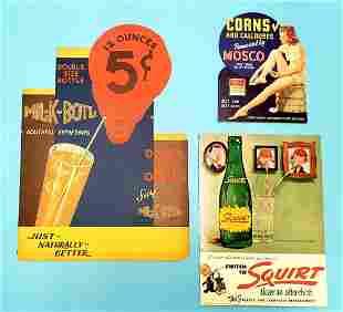Cardboard Advertising Lot Squirt, MOSCO, Mil-k-Botl