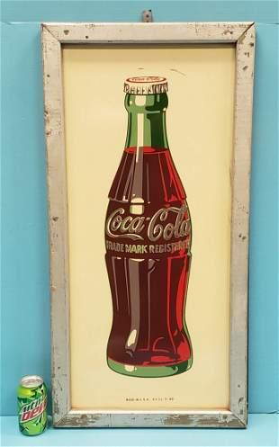 Coca Cola Bottle Framed Tin Sign