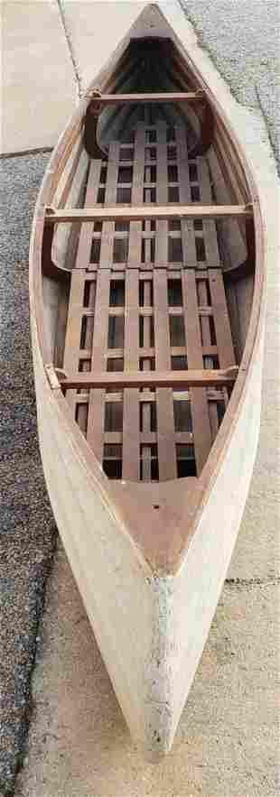 12ft Vintage Canvas Canoe w/ 2 wood slate backrest
