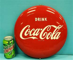 """12"""" Drink Coca Cola button with bracket"""