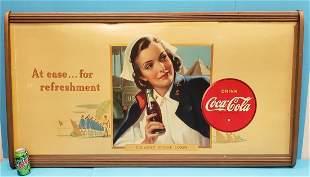 1942 Coca Cola US Army Nurse Corps Cardboard w/ Frame