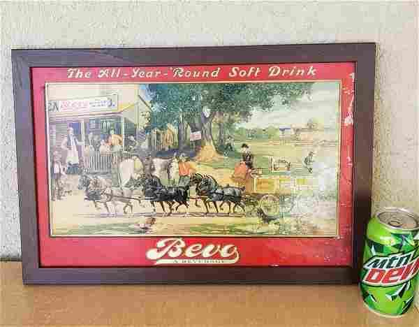 Ahneuser Busch Bevo Beverage Soft Drink Carboard Sign