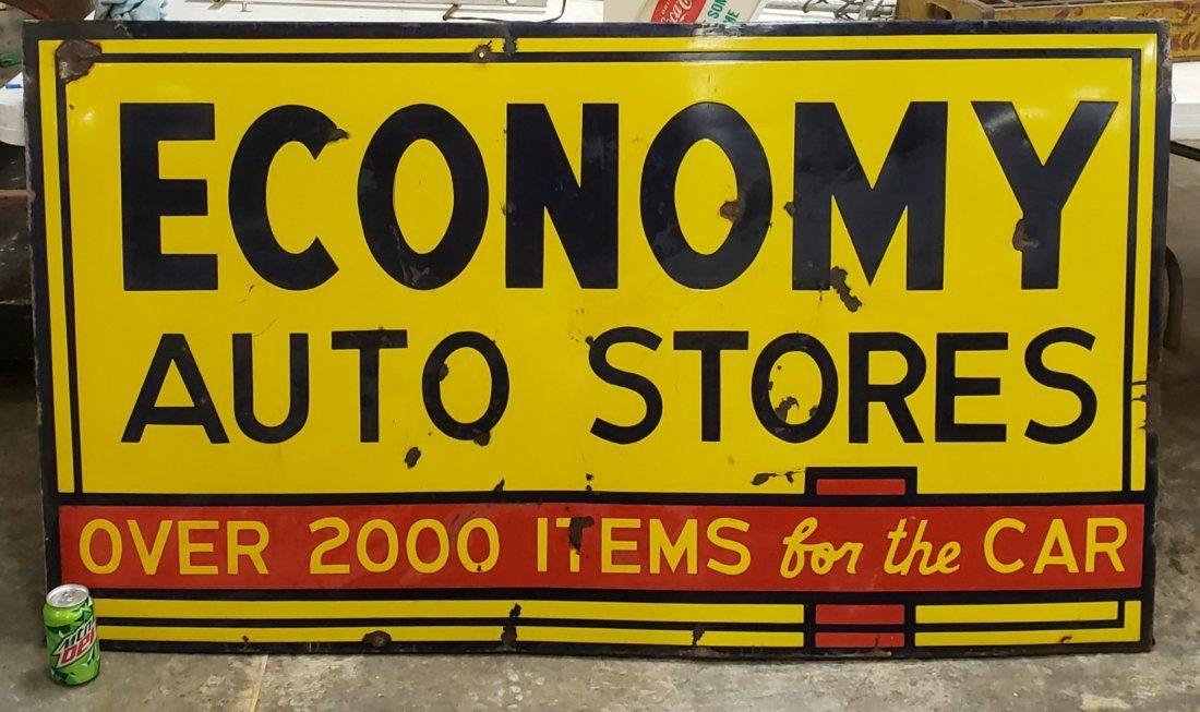 Economy Auto Stores Porcelain Sign