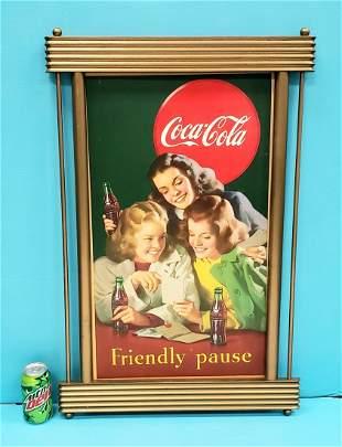 1948 Coca Cola Friendly Pause cardboard w/ frame