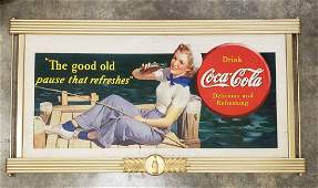 1940 Coca Cola Cardboard & Wood Frame