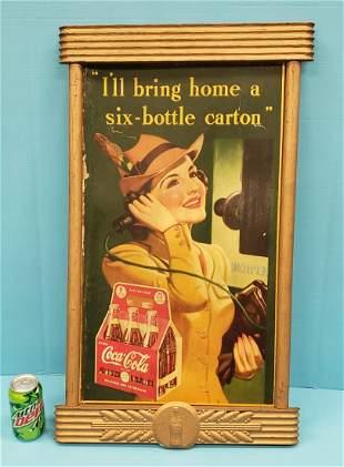 Coca Cola Cardboard Sign, Wood Frame, & Medal Emblem
