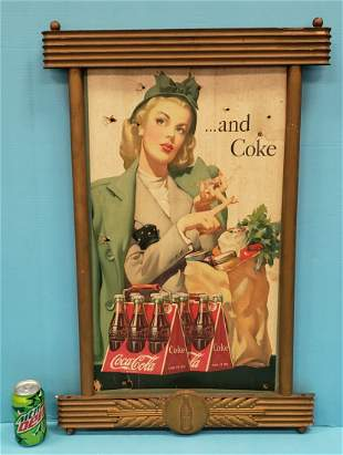 1946 Coca Cola six pack and Coke Cardboard Sign & Frame