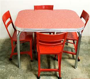 Diner Table with 4 Red Chairs