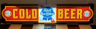 Pabst Blue Ribbon Cold Beer Light Up Sign
