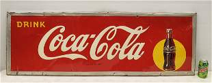 1947 Drink Coca Cola Sign with Arrow & Bottle