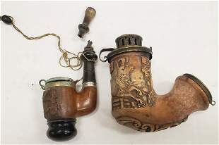 1842 Hand carved deer pipe and Allwetter pipe