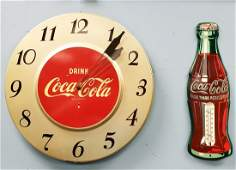 Drink Coca Cola Clock & Die Cut Bottle Thermometer