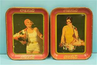 1929 & 1930 Coca Cola Pin-up Girl Trays