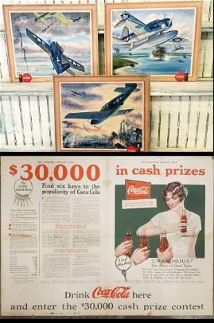 1943 Set of 3 Coca Cola Airplane Cardboard signs & 1927