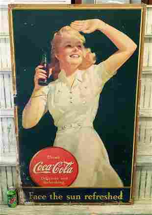 """1941 Coca Cola Cardboard Sign """"Face the sun Refreshed"""""""