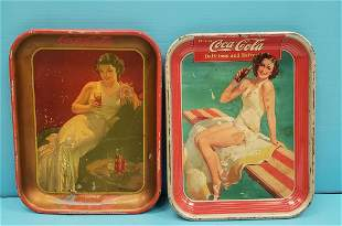 Two original Coca Cola Pin-up Girl Trays, 1936 & 1939