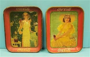2 Original Coca Cola Pin-up Girl Trays 1935 & 1938