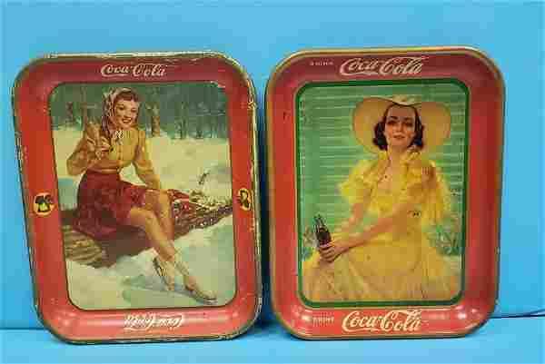 2 Original Coca Cola Pin-up Girl Trays 1938 & 1941