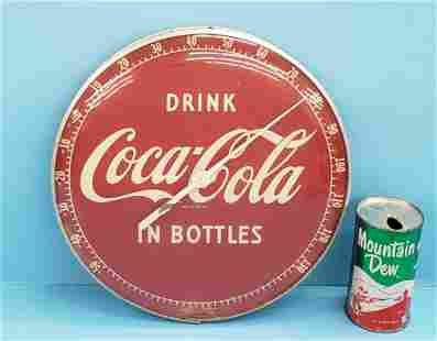 Drink Coca Cola in Bottles round thermometer