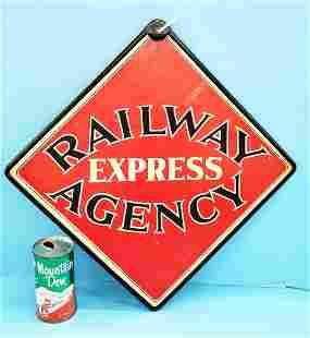Railway Express Agency Masonite sign & shipping tag