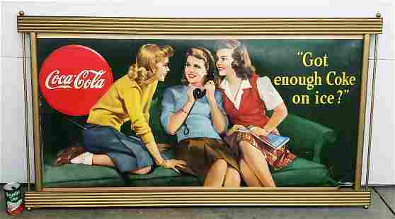 "Coca Cola ""Got Enough Coke on Ice?"" cardboard in frame"