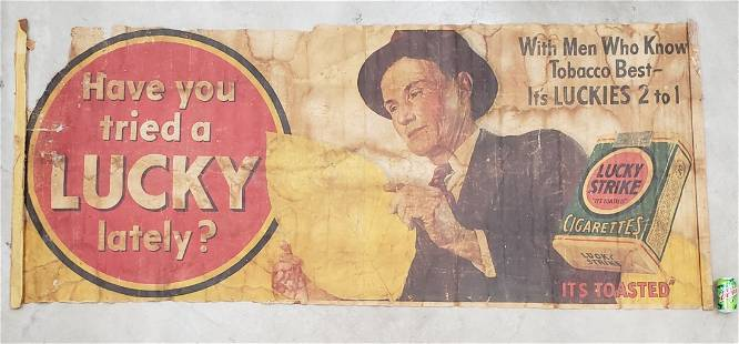 Scarce large Lucky Strikes banner