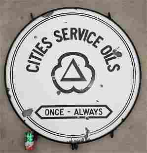 Cities Service Oils Porcelain Sign Double Sided w ring