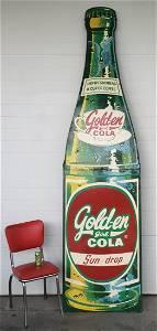 RARE Huge Golden Girl Cola Sun-Drop bottle sign