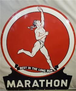 Porcelain Marathon Gasoline keyhole sign restored