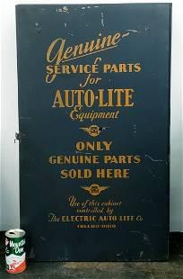 1930's Auto-Lite Genuine Parts Cabinet & Parts