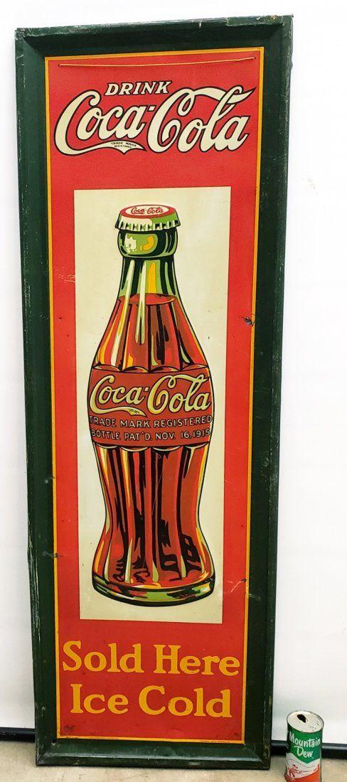 RARE 1927 Coca Cola Self Framed Vertical Tin Sign
