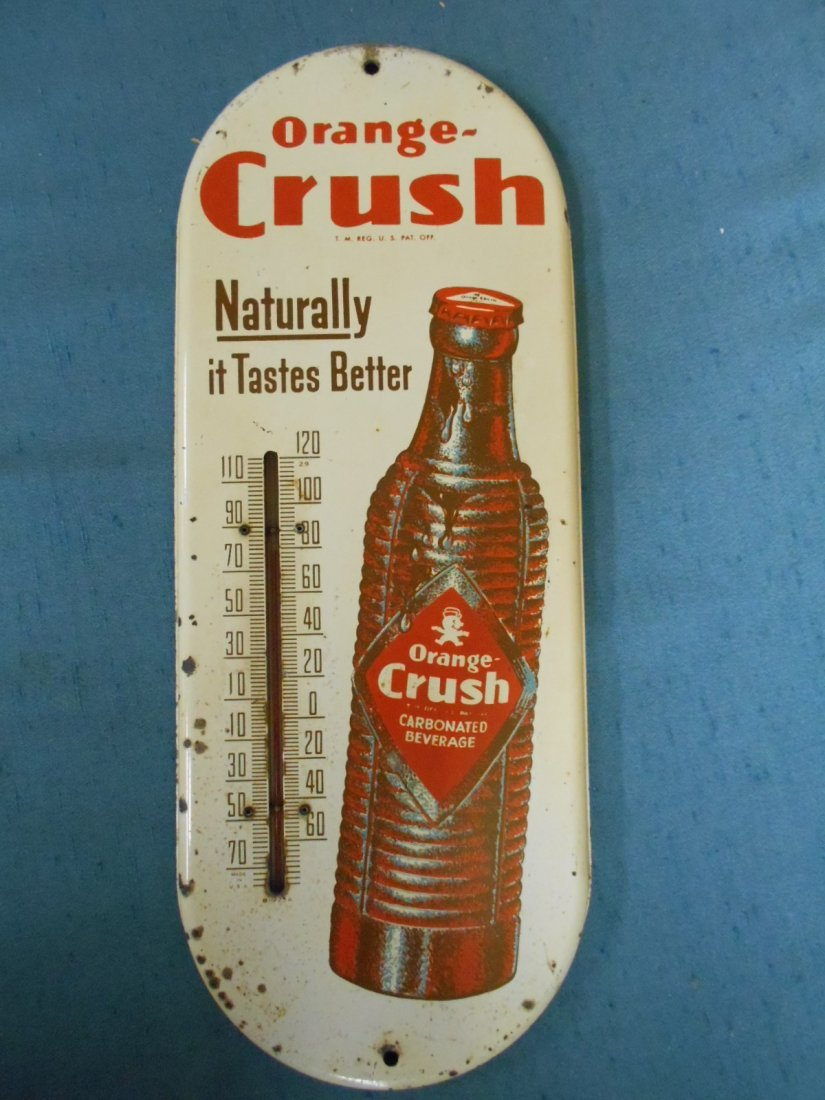 Circa 1940's Orange Crush Thermometer