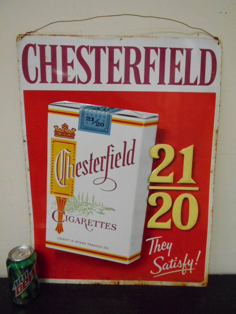 Embossed Chesterfield Tobacco sign - metal