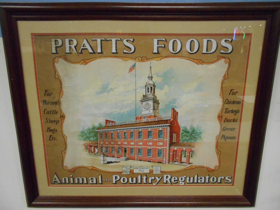 RARE Early 1900's PRATTS FOODS Framed Poster