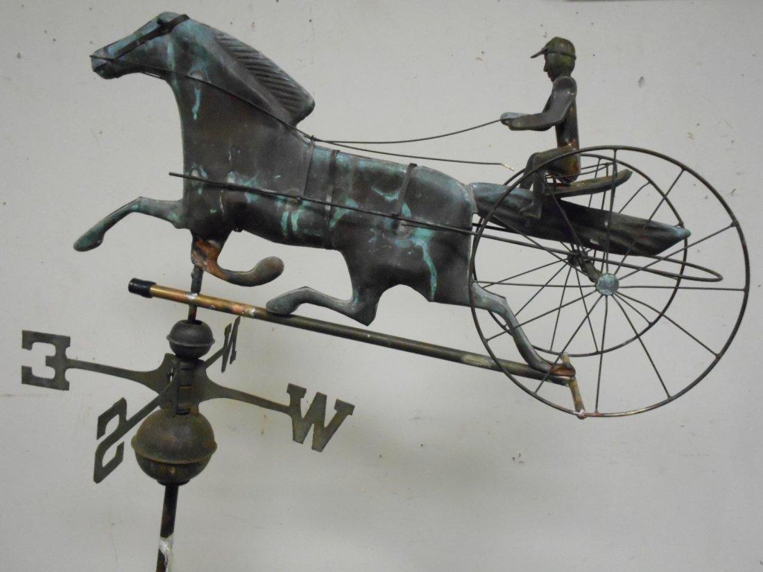 Antique Copper Weathervane Horse & Sulky