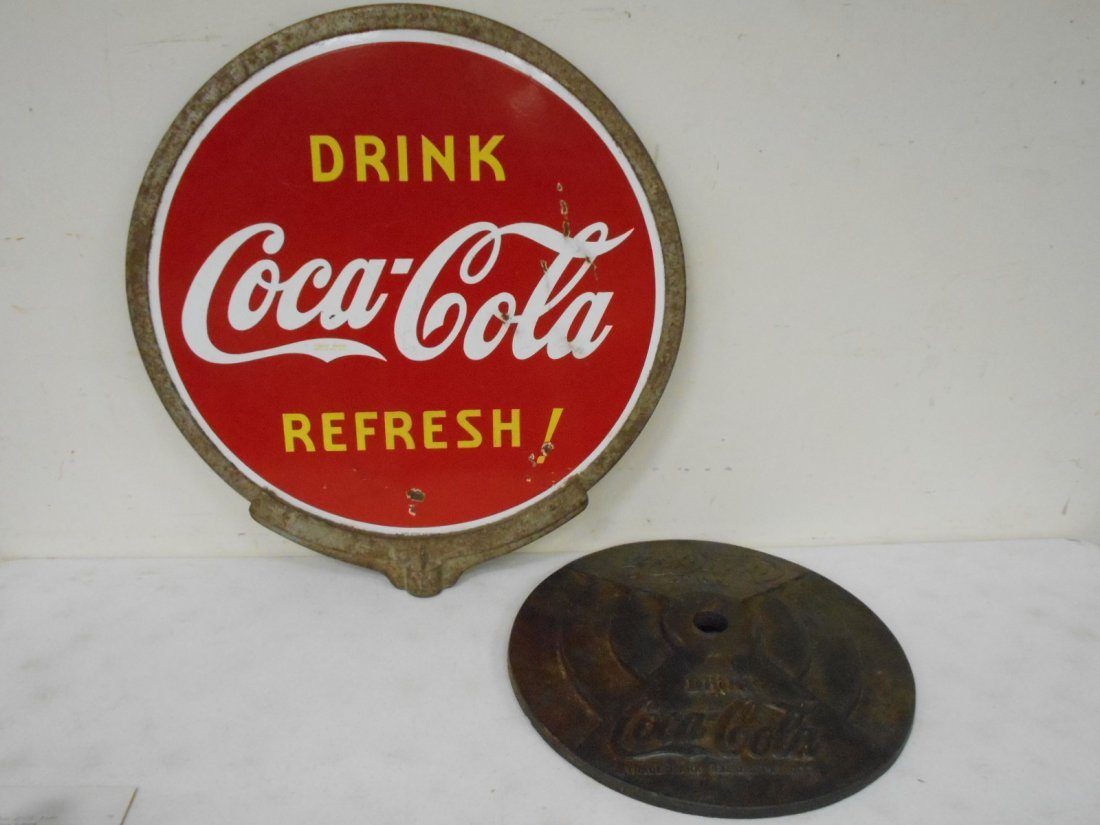 1939 Coca Cola lollipop sign w/ frame & base