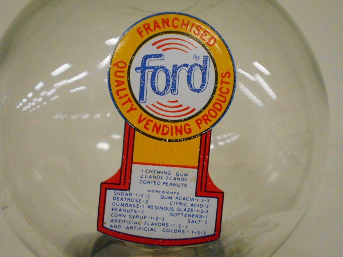 Ford bubble gum machine on deco cast iron base - 2