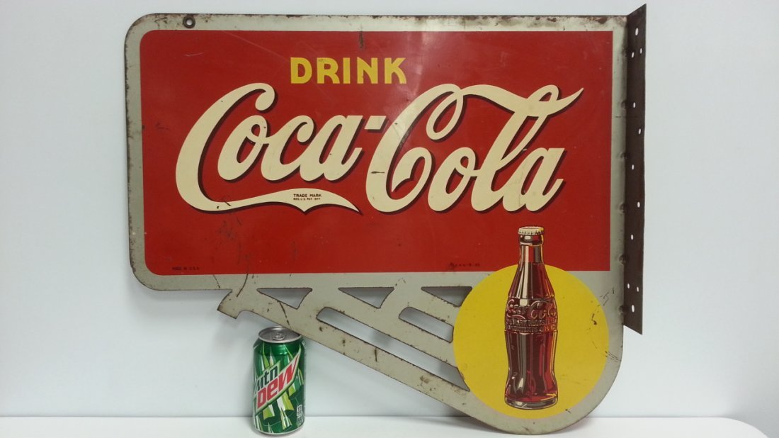 1940 2 sided Coca Cola flange advertising soda pop sign