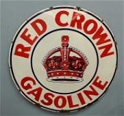 "1930's 42"" Porcelain Red Crown Gasoline Petroliana Sign"