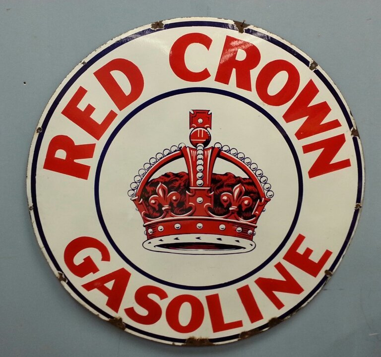 "1930's 42"" Porcelain Red Crown Gasoline Petroliana Sign"