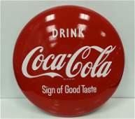 """24"""" Porcelain Coca Cola button advertising sign"""
