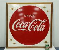 Self framed Coca Cola button advertising sign w/stars