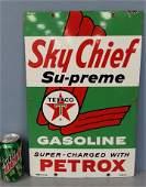 1961 Porcelain Sky Chief Texaco gas pump plate