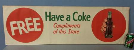1958 Paper Coca Cola soda pop advertising sign