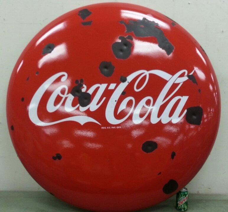 """48"""" Coca Cola porcelain button advertising sign"""