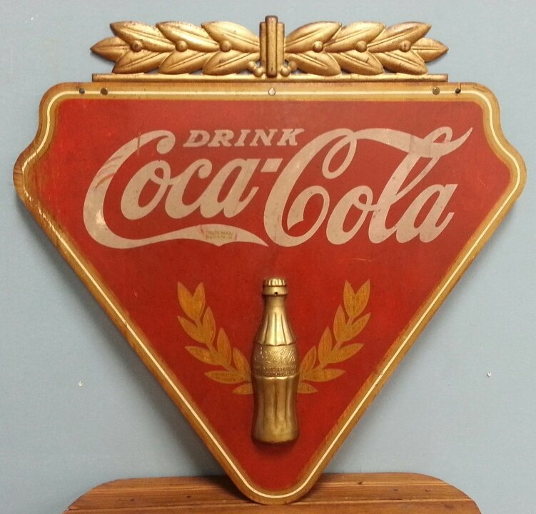 1930's Kay Display Wooden Coca Cola Advertising Sign