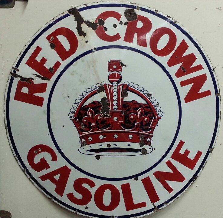Porcelain Red Crown Gasoline advertising sign