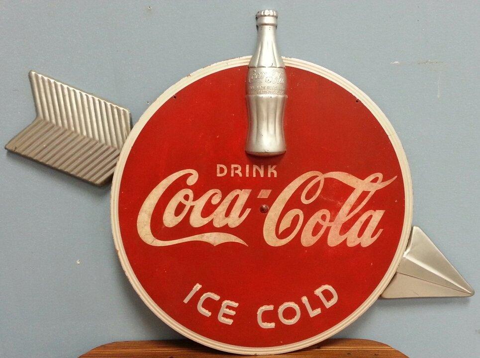 1930's Kay Display Coca Cola wood & metal Arrow Sign
