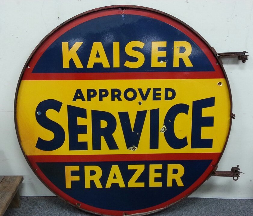 """2 Sided 60"""" Porcelain Kaiser Frazer advertising sign"""